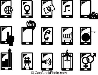 handphone, función, icono, conjunto, vector, ilustración