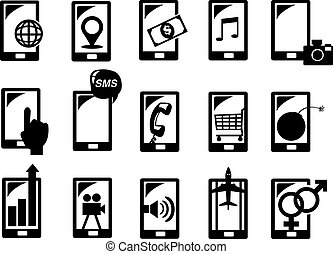 handphone, functie, pictogram, set, vector, illustratie