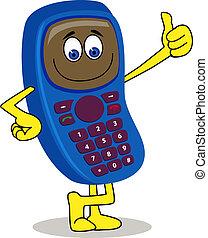 handphone, karakter, spotprent