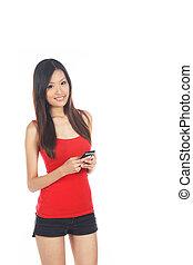 handphone, używając, asian samica
