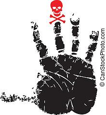 handprint, 由于, 紅色, 頭骨
