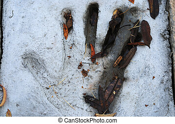 handprint, cement