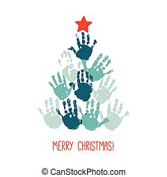 Handprint Christmas tree with red hand drawn star. Christmas card design. Vector eps 10 illustration isolated on white .