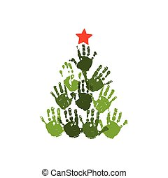 Handprint Christmas tree with red handdrawn star. Watercolor acrylic kids Christmas art. Children Christmas crafts. Family Christmas card design. Vector eps 10 illustration isolated on white .