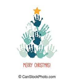 Handprint Christmas tree with yellow hand drawn star. Christmas card design. Vector eps 10 illustration isolated on white .