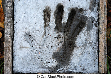 handprint, cimento