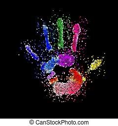 handprint, colorido