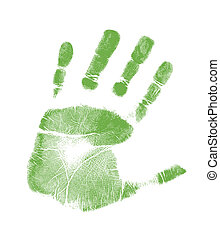 handprint illustration design over a green background