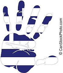 Handprint in  flag of Greece