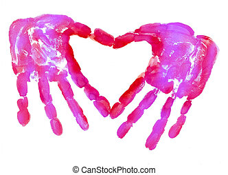 HandPrint in the form of heart - HandPrint in the form of...