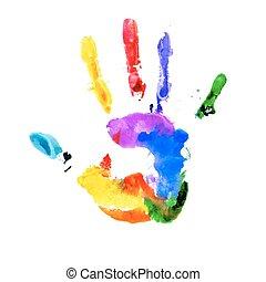 handprint, in, vibrant, kleuren van de regenboog
