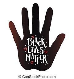 Handprint of a black man with the inscription black lives matter.