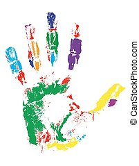 handprint of different colors vector illustration