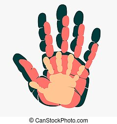 Handprint of family. Palm of man, woman and child. Symbol of...