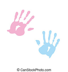 handprint of girl and boy
