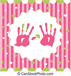 handprint of girl on the pink background