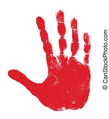 Handprint - Red handprint isolated on white