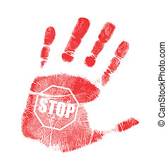 handprint stop sign illustration design over a white...