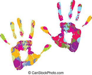handprint., vektor, ábra