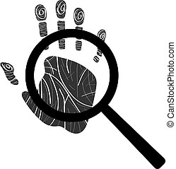 Handprint with magnifying glass icon. Personal identification. Clean and modern vector illustration for design, web.