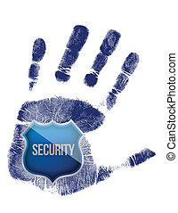 handprint with security blue shield