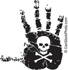 Handprint with skull