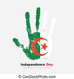 Handprint with the Algeria flag in grunge style