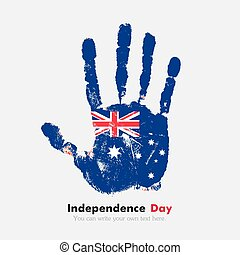 Handprint with the Australian flag in grunge style