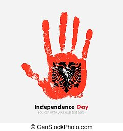 Handprint with the flag of Albania in grunge style