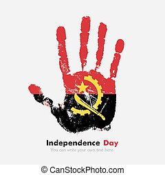 Handprint with the flag of Angola in grunge style