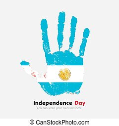 Handprint with the Flag of Argentina in grunge style