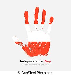 Handprint with the flag of Austria in grunge style