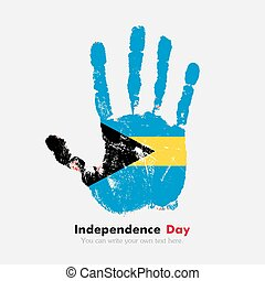 Handprint with the flag of Bahamas in grunge style