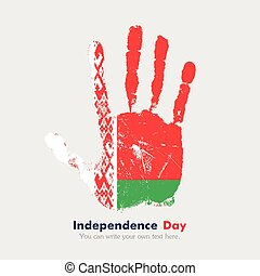 Handprint with the Flag of Belarus in grunge style