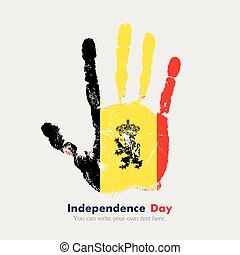 Handprint with the Flag of Belgium in grunge style