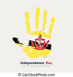 Handprint with the Flag of Brunei in grunge style