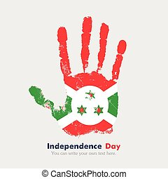Handprint with the Flag of Burundi in grunge style