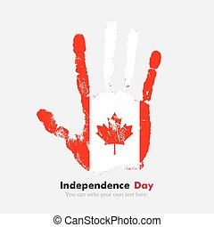Handprint with the Flag of Canada in grunge style