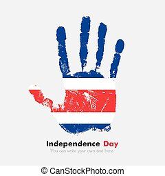 Handprint with the Flag of Costa Rica in grunge style
