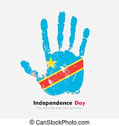 Handprint with the Flag of Democratic Republic Congo in grunge style
