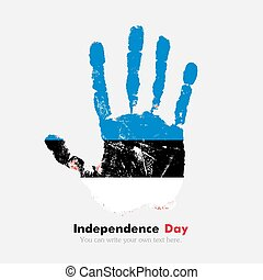 Handprint with the Flag of Estonia in grunge style