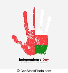 Handprint with the Flag of Oman in grunge style