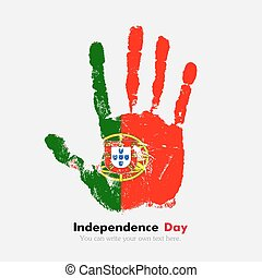 Handprint with the Flag of Portugal in grunge style