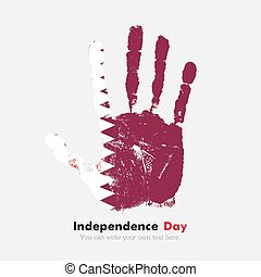 Handprint with the Flag of Qatar in grunge style