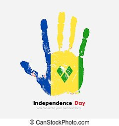 Handprint with the Flag of Saint Vincent and Grenadines in...