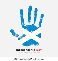 Handprint with the Flag of Scotland in grunge style