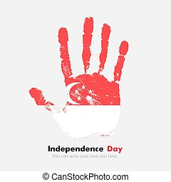 Handprint with the Flag of Singapore in grunge style