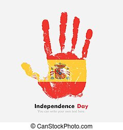 Handprint with the Flag of Spain in grunge style