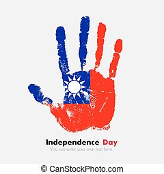 Handprint with the Flag of Taiwan in grunge style