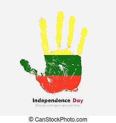 Handprint with the Lithuanian flag in grunge style